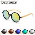 Новый стиль солнцезащитные очки женщин бренд дизайнер бамбук дерево ретро круглый солнцезащитные очки lentes de sol хомбре роскошные деревянные бамбука очки
