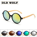 New style sunglasses women brand designer bamboo wood retro round sunglasses lentes de sol hombre luxury wood bamboo glasses