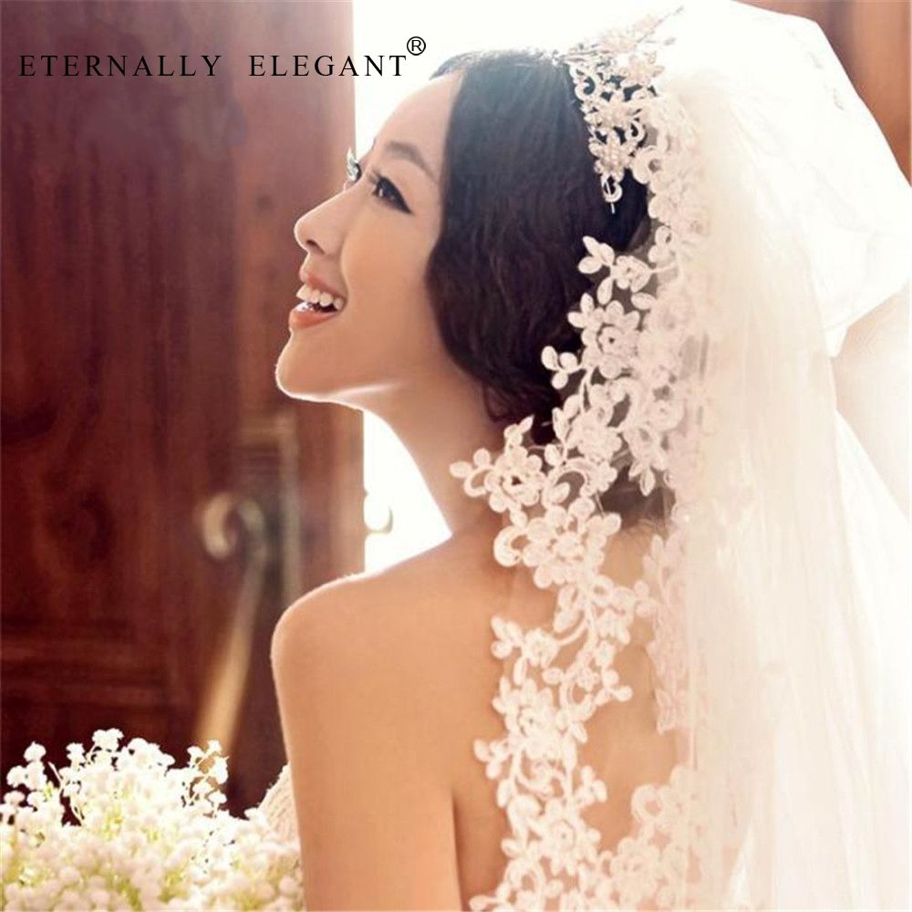 2018 White/Ivory Wedding Veil 3m Long Comb Lace Mantilla Cathedral Bridal Veil Wedding Accessories Veu De Noiva Real Photos EE89