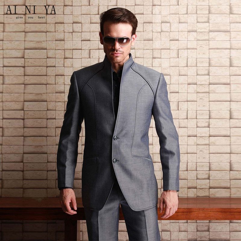 new2017 Western Styles men suit Shiny Grey For Wedding groom Best Man Bridegroom Party Prom Suits With High quality