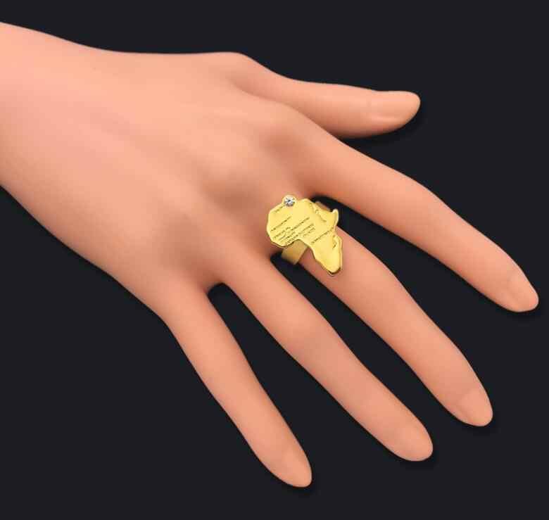 מתכוונן אפריקה מפת טבעת עבור נשים גברים זהב צבע היפ הופ תכשיטים אתניים סיטונאי אפריקאי פאנק באיכות גבוהה נחושת מתנה