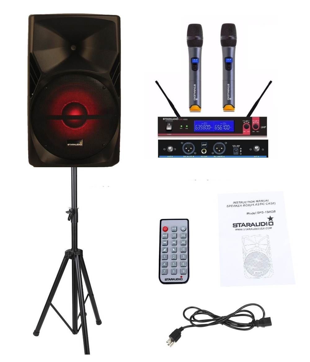 STARAUDIO 15 3500W PA DJ Stage Powered Active MP3 SD FM RGB Karaoke Speaker with Stand 2 ...