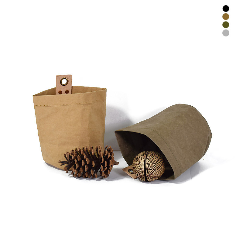 Washable Kraft Paper Storage Bags Plants Vegetable Grow Bag Flower Pot Cover Sundries Baby Clothes Toys Organizer Hanging Pouch