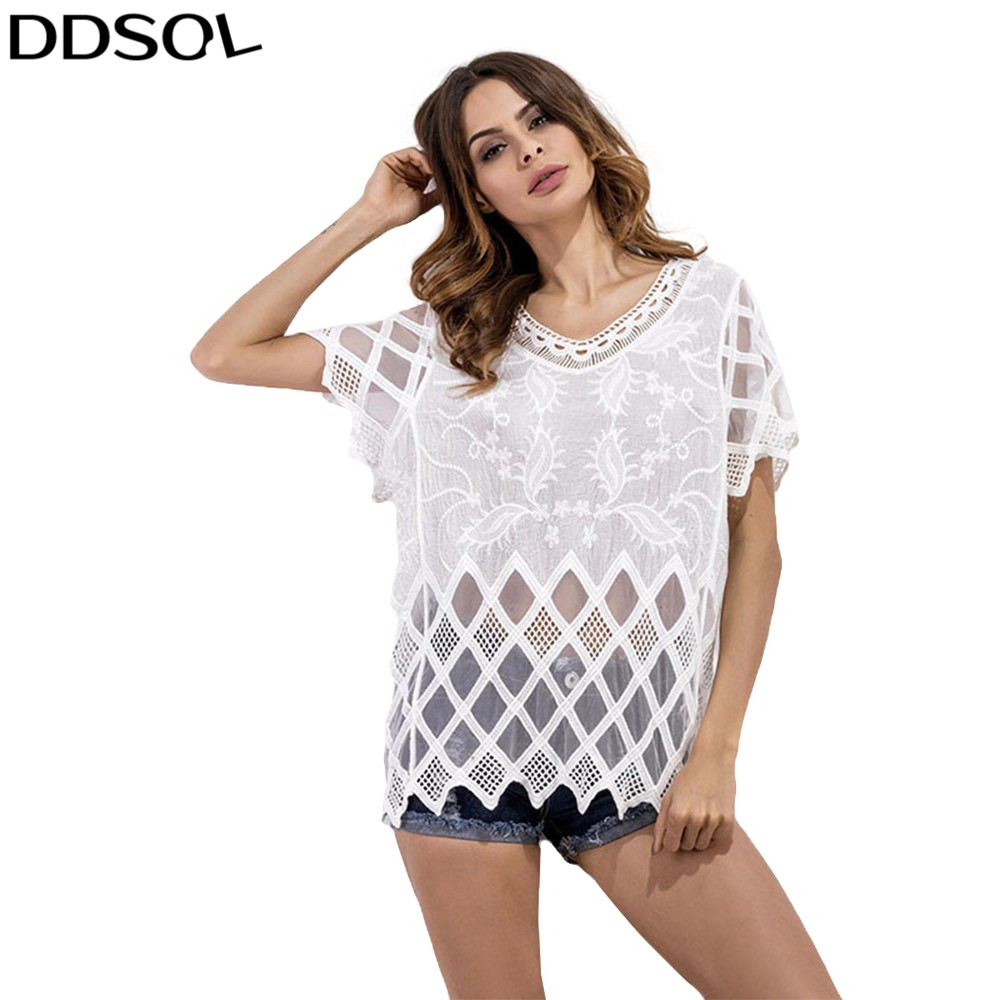 DDSOL Summer Beach Hollow Out Hook Flower Blouse White Short Sleeve Bikini Cover Up Shirt Blaus For Women Girls Chiffon Shirts