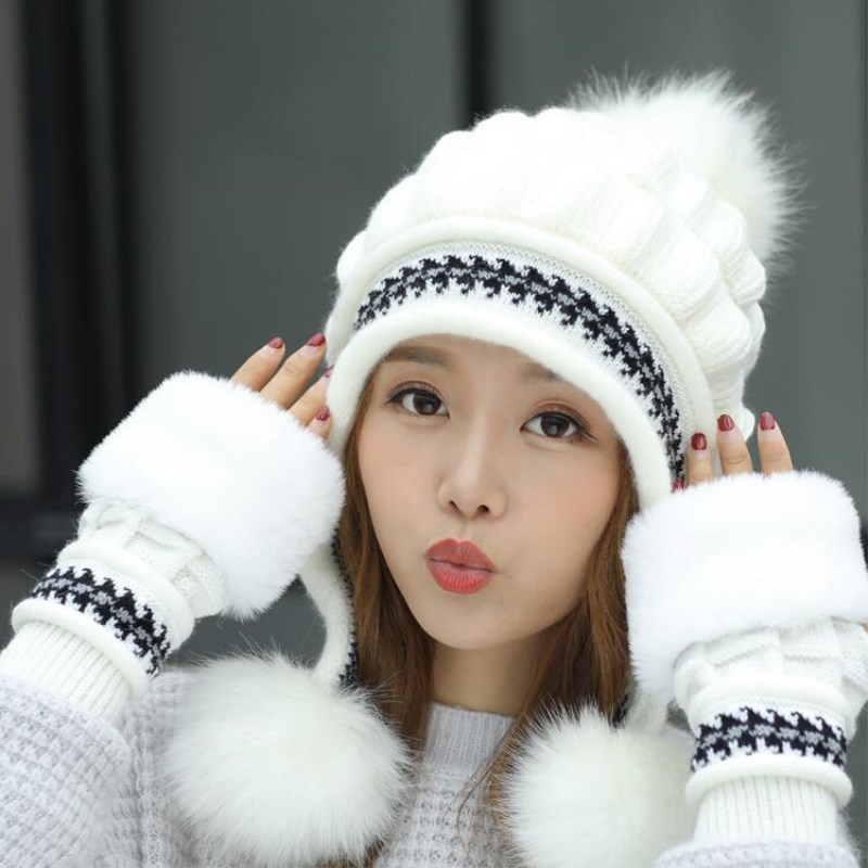 Girls Thicken Ski Snow Cap New Fashion Fur PomPoms Winter Women Beanie Hats  Female Skullies Warm Gloves + Knit Hat Set -in Skullies   Beanies from  Apparel ... 3c96eebd87bd