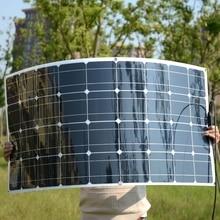 Precio de fábrica 18 V 100 W Flexible de Silicio Mono Panel Solar Para Autocaravanas Barcos Techo 12 V Cargador de Batería 100 w Módulo Solar