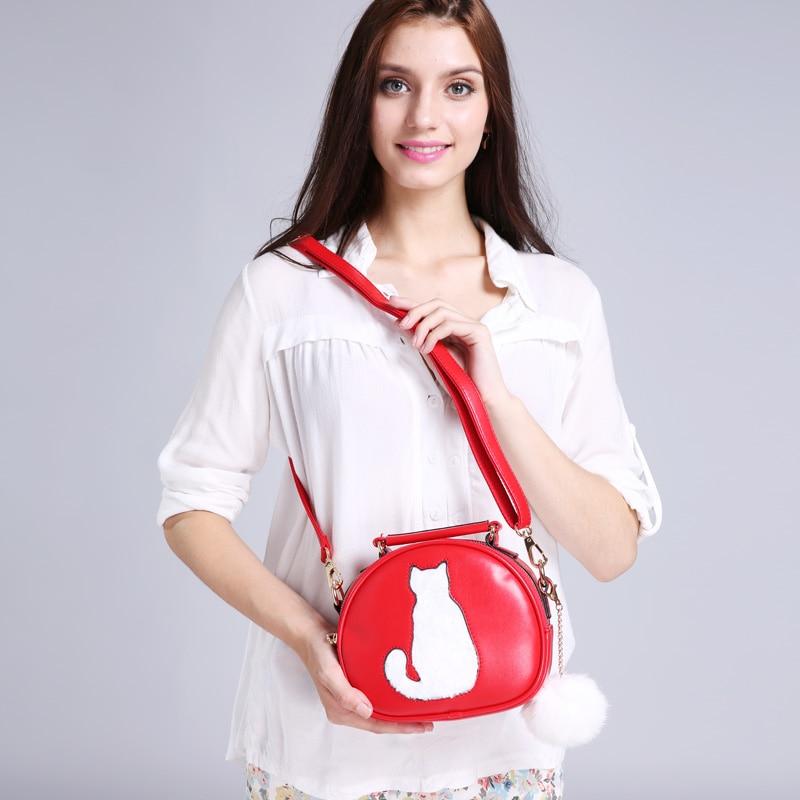 RoyaDong 2017 Women Shoulder Bags Crossbody Bag For Women Handbag PU Leather Full Moon Candy Color Cute Cat With Fur Ball 1