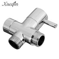 Xueqin Free Shipping Brass 1 2 Bathroom Shower Faucet Tee Connector Chrome Plated 3 Way Diverter