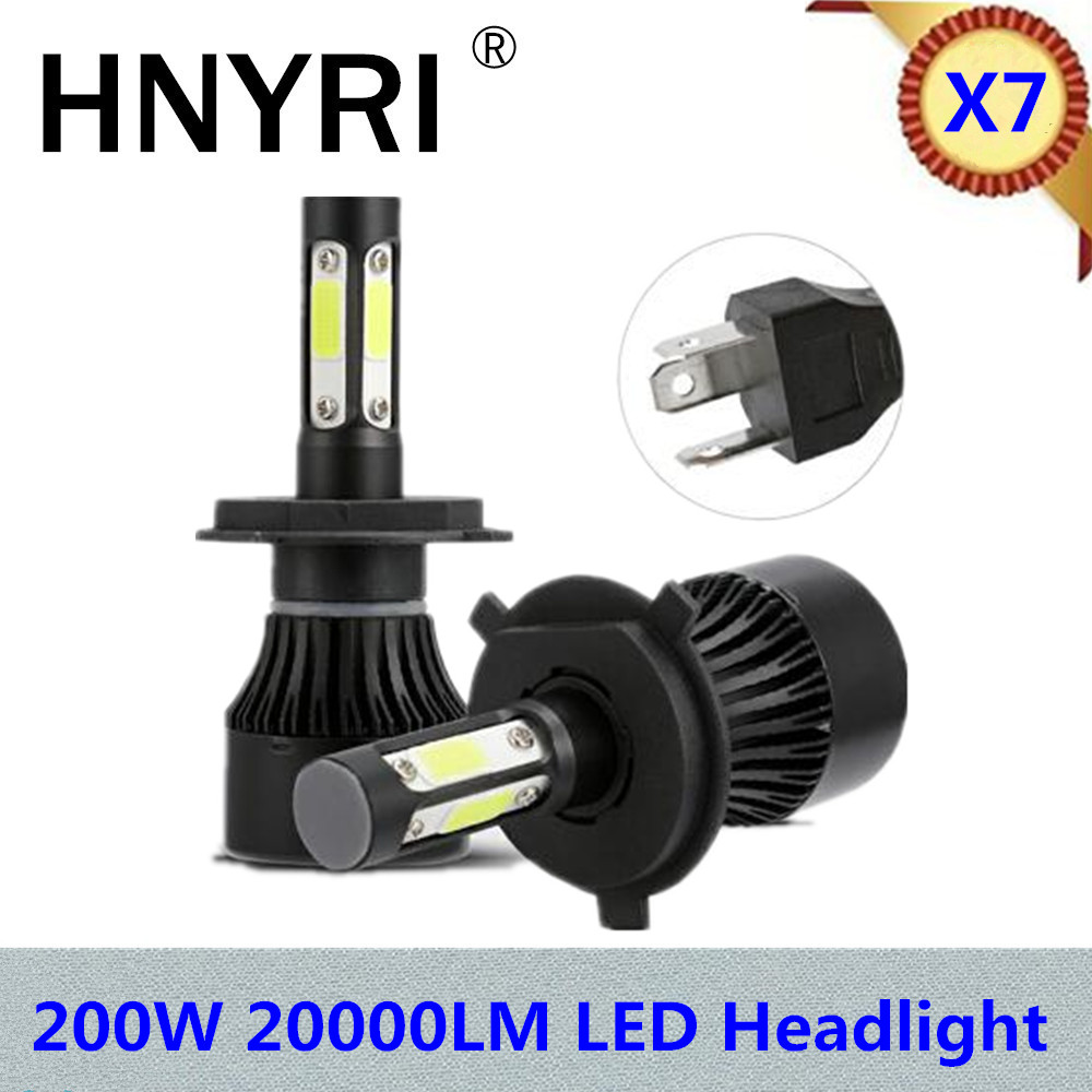 2Pcs 200W 20000LM/Kit COB LED Headlight 4-Sided 9006 HB4 H7 H4 Hi/Lo Beam 9005 HB3 H11 Fog Light Bulbs 6500K for volkswagen X7 1 pair dc 9 36v h4 cob 80w led car headlight kit hi lo beam bulbs 6000k