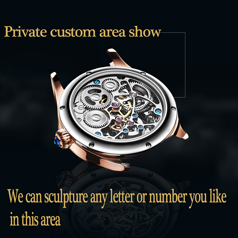 2019 Real Tourbillon Mechanical Hand Wind Sapphire Mens Watches Top Brand Luxury Rhinestone Clock men Gold Relogio Masculino 1