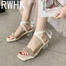 RWHK Sandals female summer 2019 new winding cross straps thick with transparent square head crystal shoes tide B221