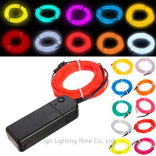 Free Shipping 3m Flexible Neon Light Glow El Wire Rope Car