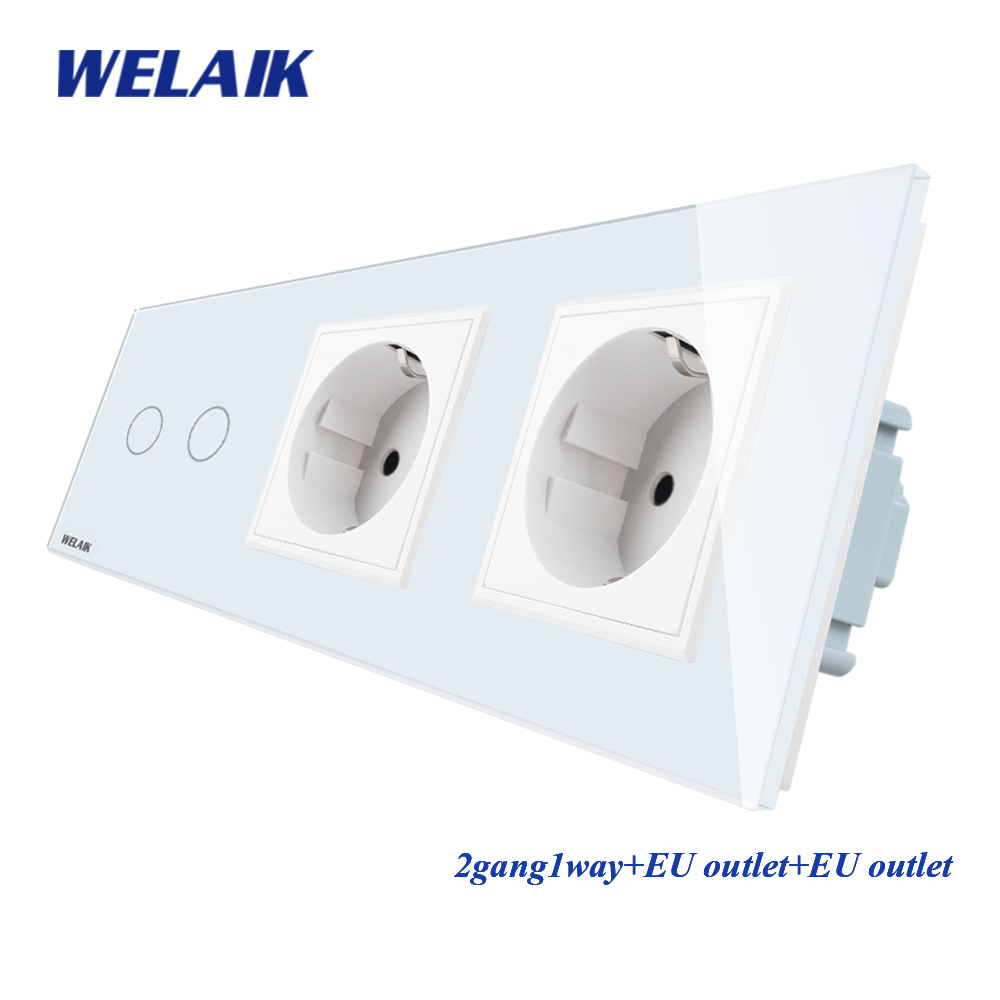 WELAIK 3Frame Crystal Glass Pane Wall Switch EU Touch Switch Wall socket 2gang 1way AC110 250V