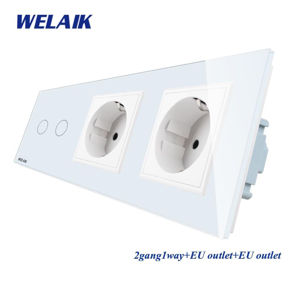 WELAIK 3Frame-Crystal Glass-panneau-interrupteur mural-EU interrupteur tactile mural-prise 2gang-1way AC110 ~ 250V A39218E8ECW/B