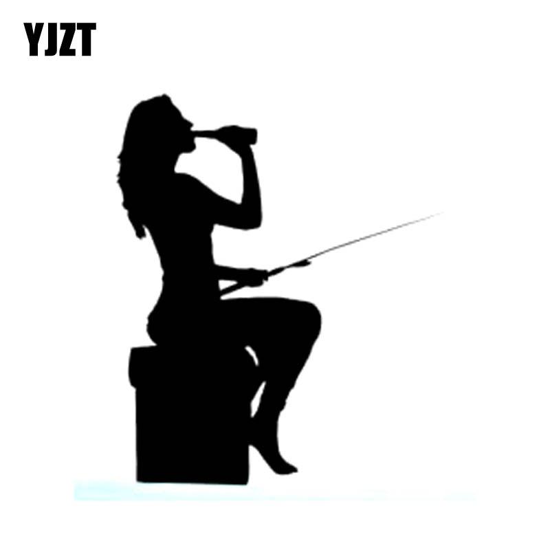 YJZT 10.5cm*14cm Funny FISHING Girl Vinyl Car Sticker Decals Black Silver Car-styling C11-0149