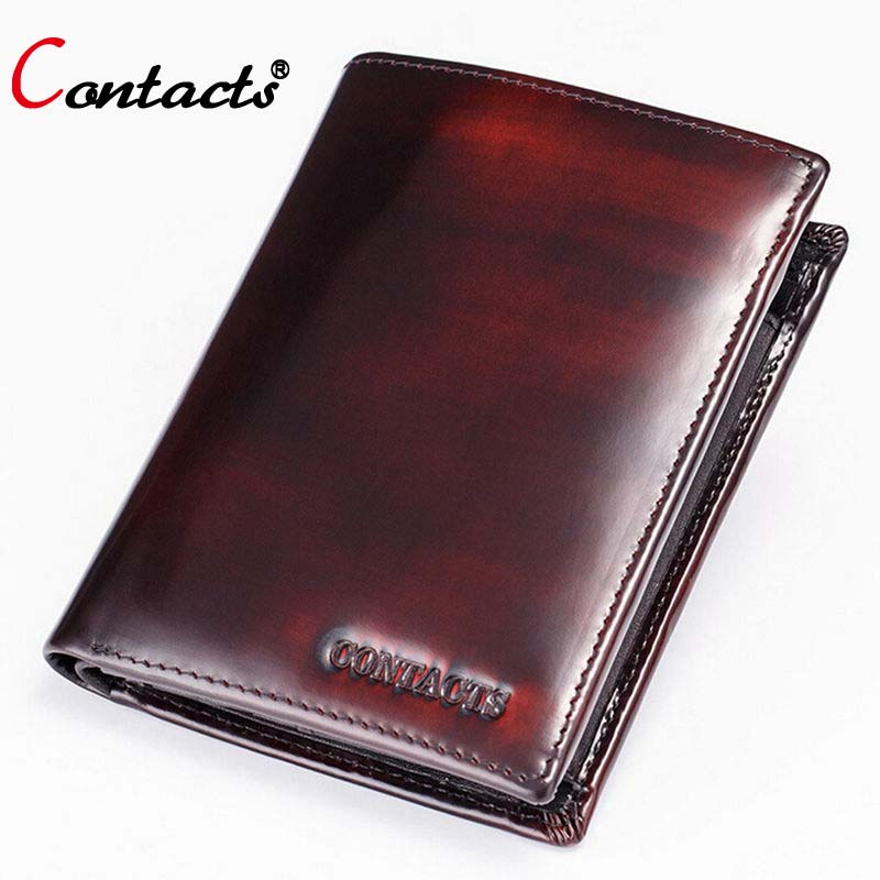 CONTACT'S High quality genuine leather men wallets short luxury clutches male coin purse famous brands card holder designer 2018