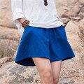 Женщины летние шорты 2016 Лето Белье Хлопок Оригинальные Свободные Мори девушка Сплошной цвет Эластичный Пояс Mid Повседневная Краткая