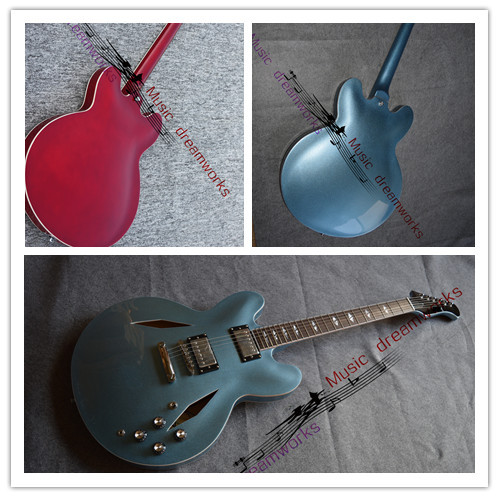 China's guitar OEM firehawk Dave Grohl DG335 Metallic Blue Electric Guitar wholesale,sales promotion, color can be customized china oem firehawk sg electric guitar the left hand guitar red guitar you can change the color ems free shipping