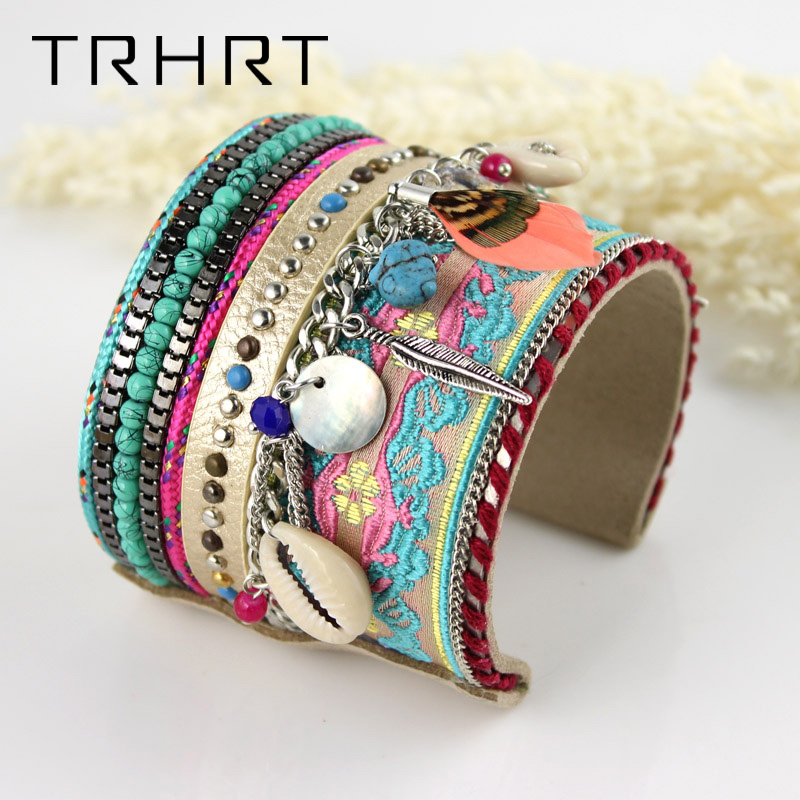 Fashion Jewelry Bohemian Women Leather Bangle Bracelet Shell Silver Star Feather Handmade Bracelets Female Accessories