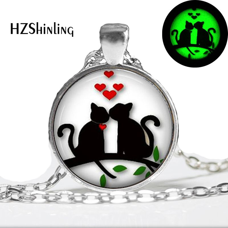 Glow in the dark Necklace Pendants,Hearts Cats on Tree Valentine Gift Cat Necklace, Glas ...
