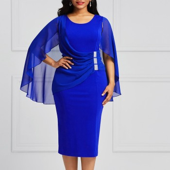 Plus Size Blue Women Dress Autumn 2019 Bodycon Batwing Sleeve Pencil Oversize Dress Sexy Summer Elegant Fashion Party Dress Kinikiss Ali/hoodmat.com