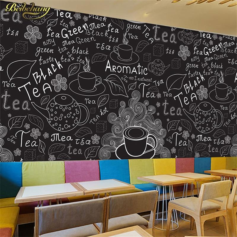 Beibehang 3D Karya Seni Tangan Dicat Papan Tulis Hitam dan Putih Kedai Kopi Wallpaper Kasual Bar