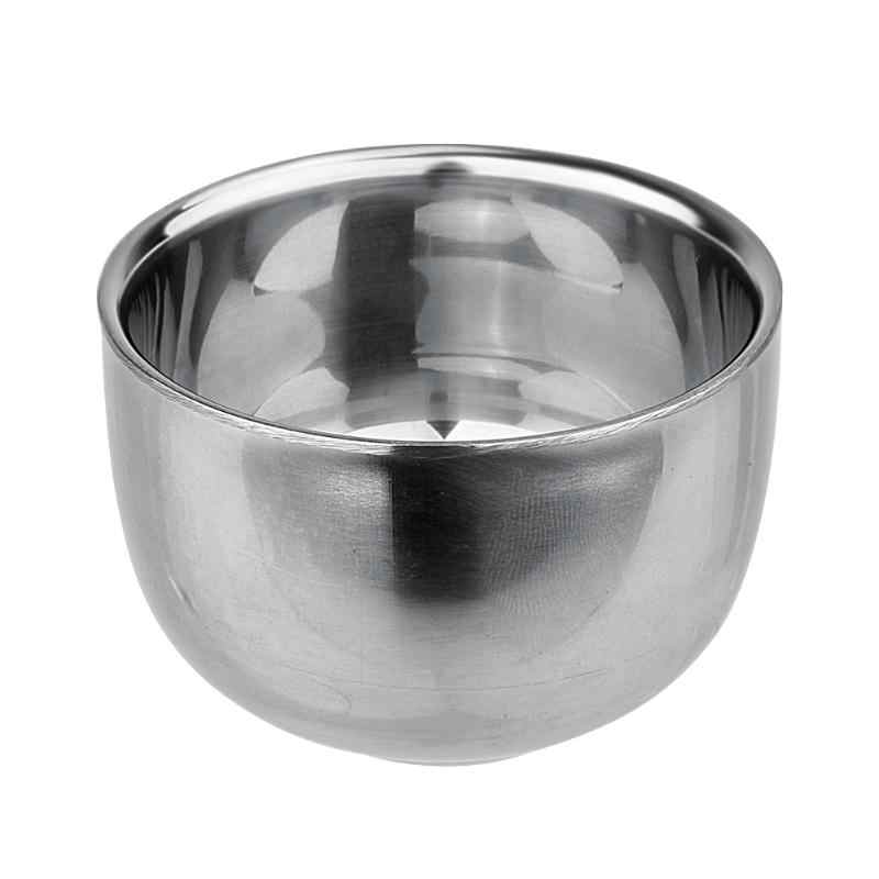 Hot selling 120ML/200ML Double Layer Soap Cup Heat Insulation Smooth New stainless steel Shaving Bowl Drinkware Student cup