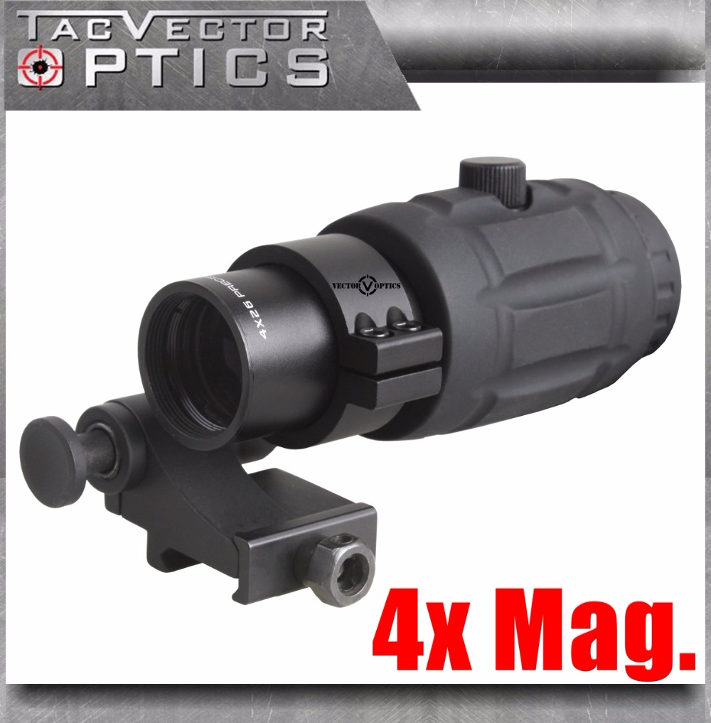 Vector Optics Tactical Adjustable 4x Magnifier fit for Red Dot HOLO Sight with Flip to Side Picatinny Mount Shooting Accessories 4x magnifier fts flip to side for eotech aimpoint or similar scopes sights with lens cover