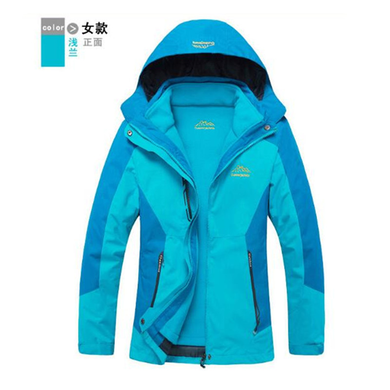 ФОТО Winter Outdoor Lovers Sport 3 in 1 Thermal Waterproof Breathable Warm Jacket Thicken Softshell Lining Camping Coat hiking jacket