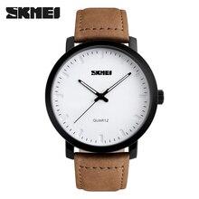 2016 SKMEI Brand Casual Men's Watches Leather Waterproof Joker Fashion Style Quartz Watch Men Sport Military Army Wristwatch