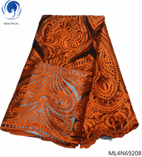 BEAUTIFICAL orange tulle lace fabric african embroidery with stones french for wedding ML4N692