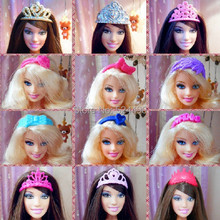 10 Pcs Mix Different Styles Colorized Fashion Doll Headwear Headset Crown Accessories For Barbie Kurhn Doll