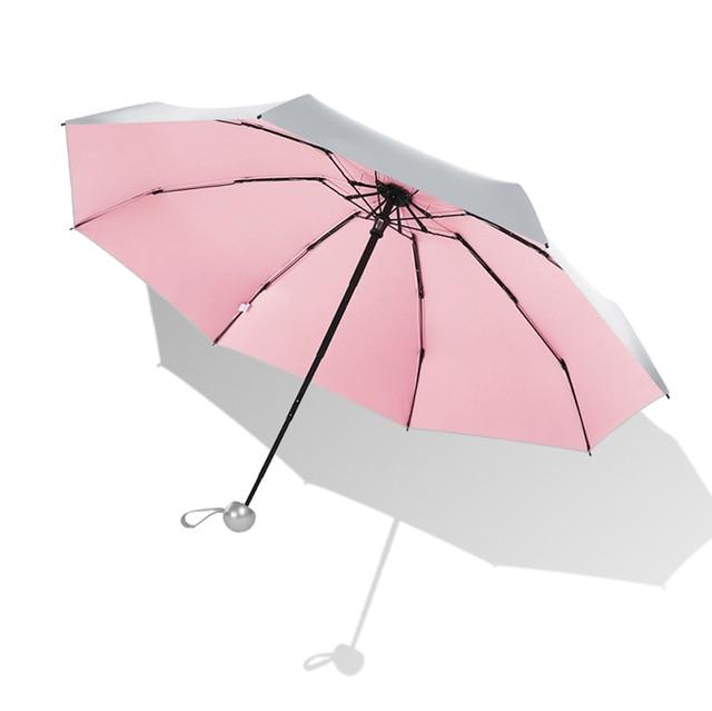 8 costelas Bolso Mini Umbrella Anti UV Umbrella Sol Chuva Paraguas Luz Prova de Vento Port