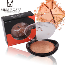 MISS ROSE Brand 6 color baking powder blush easy to bright black transparent cover plastic shell rouge