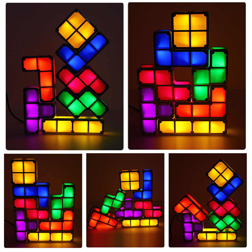 DIY Tetris Puzzle Light Stackable LED Lamp Constructible Block Night Light Retro Game Tower Baby Colorful Brick Novelty Toys