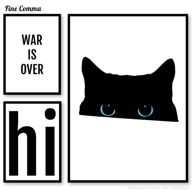 Gato preto Guerra acabou Oi Citações Da Arte Da Parede Cartazes e imprime  Fotos Cartaz Minimalista bc25068b7c