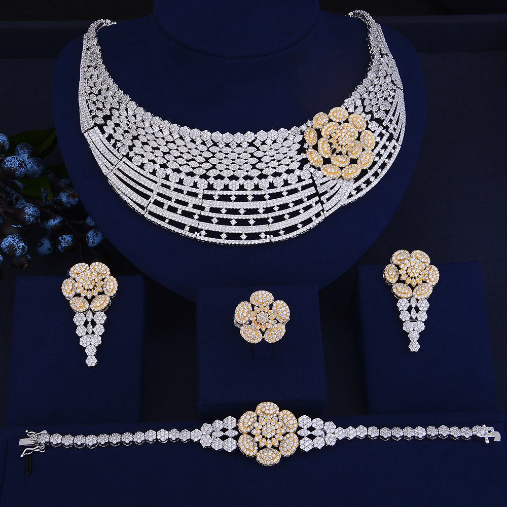 4PCS Deluxe Flower Shape dubai gold jewelry sets for women CZ Big Collar Necklace Earrings Bracelet Ring Set ensemble bijoux a suit of gorgeous rhinestoned flower necklace bracelet earrings and ring for women