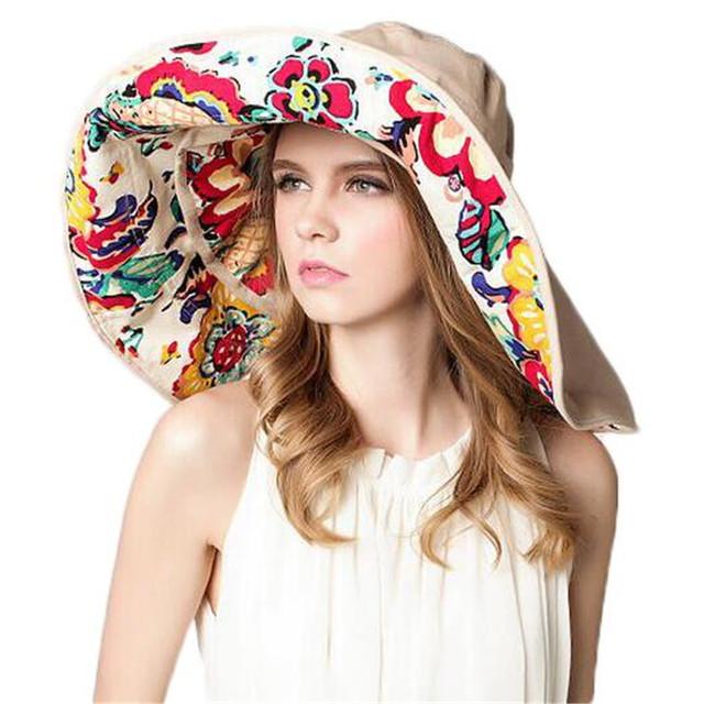 2016 Sombrero de Ala Ancha Sombreros de Sun Beach Summer Mujeres Para Mujeres Fold Chapéu Feminino ZMF874952