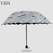 YADA New Custom Charm Cartoon Newspaper Folding Lace Umbrella Rain uv High Quality For Womens Windproof Umbrellas YS278