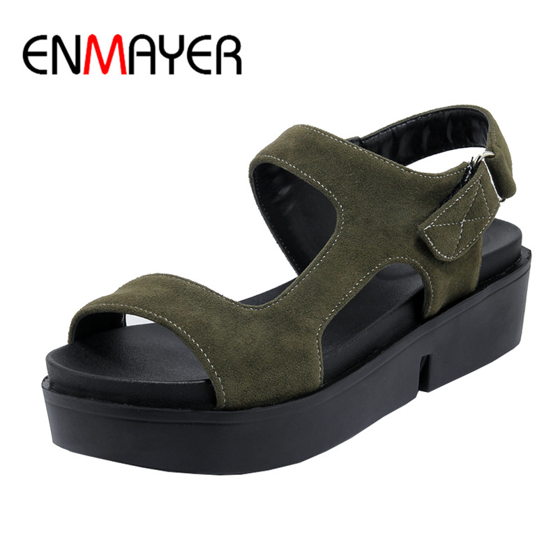 ФОТО ENMAYER Flock Women Shoes Open Toe High Platform Wedge Sandals Buckle Strap Casual Summer Solid Sandals New Style Sandals
