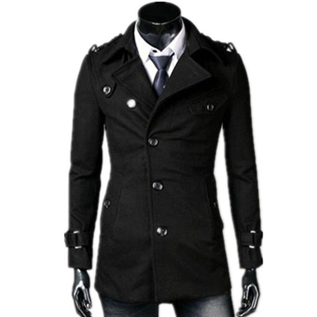 2018 autumn/winter fashion new men leisure single-breasted trench coat / Men's turn down collar long woolen jacket 1
