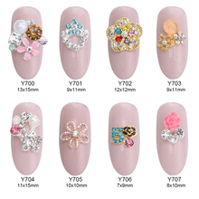 10pcs Alloy crystal nails star resin flower accessories 3d nail jewelry decoracion de unas strass ongle supplies Y700~707