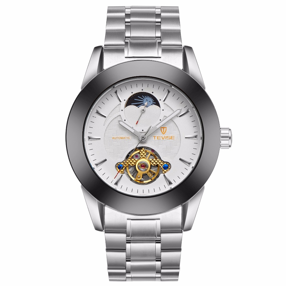TEVISE Automatic Watch Men skeleton Mechanical Men Watches Full Steel Sapphire Relogio Masculino Waterproof Silver tevise luxury automatic mechanical watch men full steel business waterproof wristwatches auto date week relogio masculino t807b
