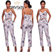 IMYSEN 2017 Autumn Winter Sexy 2pcs Suit Women S Print Two Sets Spaghetti Strap Tops Pants