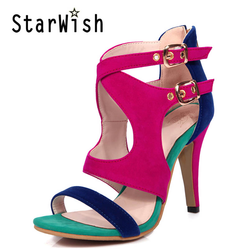 ФОТО Summer High Heels Platform Gladiator Sandals Women Suede Shoes Woman Elegant Zip Pumps Casual Women Shoes Plus Size 34-43 E69