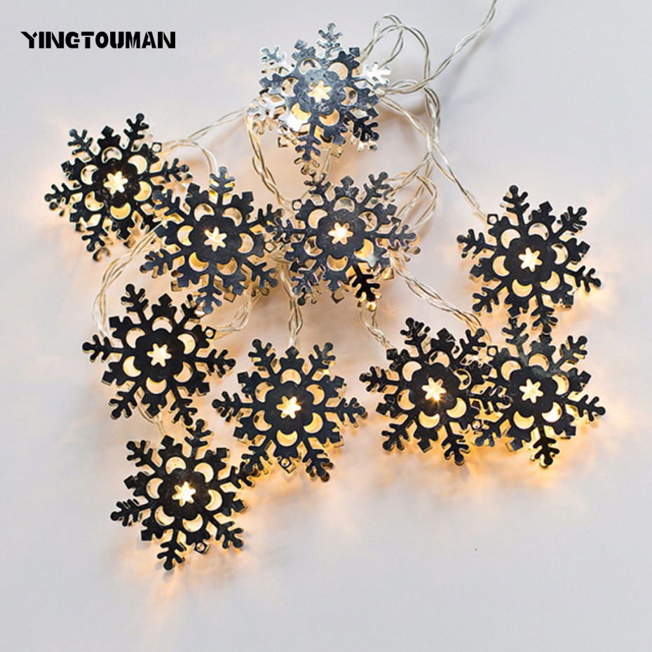 YINGTOUMAN Snowflake Battery Powered Type Lamp String Lights Christmas Party Festival Holiday Decorative Lightings 1.8m 10LED
