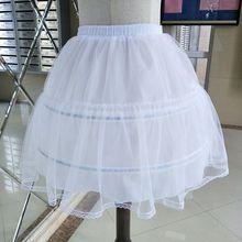 Свадебная Однослойная шифоновая короткая юбка-пачка, 2 стальных кольца, кружевная отделка, принцесса, свадебная белая Нижняя юбка