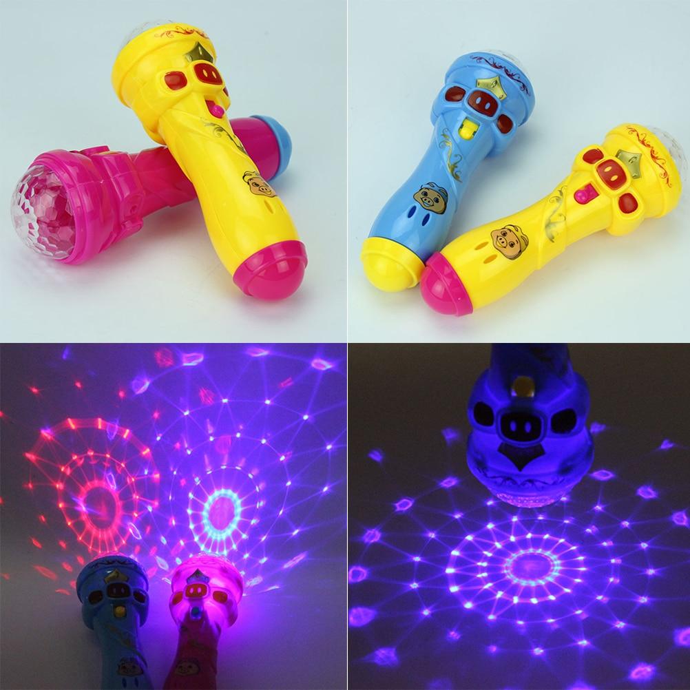 1pcs Kids Led Flashing Karaoke Singing Microphone Pig Toy Sky Stars Projection Ball Light Kids Magic Stick Funny Gift Toys & Hobbies