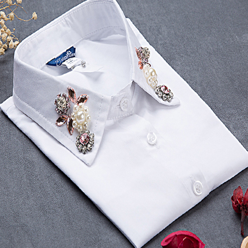 2017 Cute style Fashion Choker Neck Lapel Beaded ladies blouse collier femme solid cotton fake collar