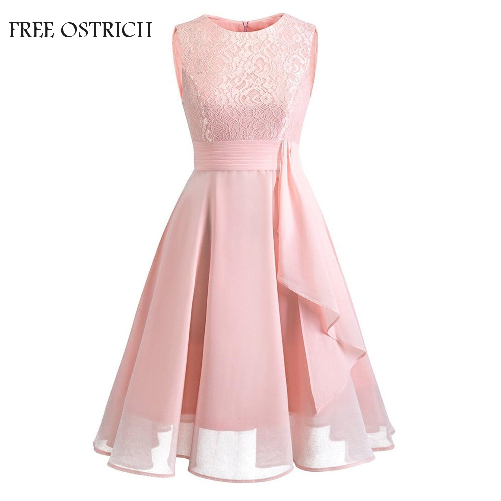 FREE OSTRICH Women Dress Formal Sleeveless Wedding Bridesmaid Lace Ladies Apparel Solid Party Knee Dress